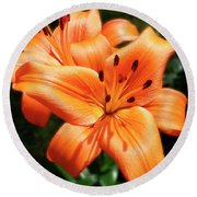 Orange Lily Joy Round Beach Towel