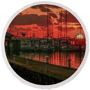 Orange Marina Sunrise Round Beach Towel by Tom Claud