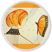 Orange Match Round Beach Towel