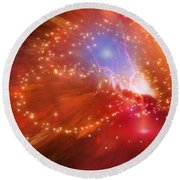 Orange Nebula Round Beach Towel