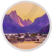 Round Beach Towel featuring the photograph Orange Night In A Harbour by Dmytro Korol