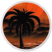 Orange Oasis Round Beach Towel