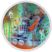 Orange Optimist Round Beach Towel