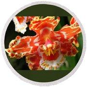 Orange Orchid Round Beach Towel