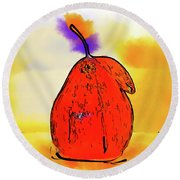 Round Beach Towel featuring the digital art Orange Pear Watercolor by Kirt Tisdale