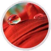 Orange Petals And Water Drops Round Beach Towel