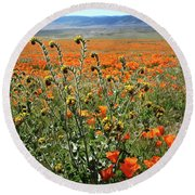 Round Beach Towel featuring the mixed media Orange Poppies And Fiddleneck- Art By Linda Woods by Linda Woods