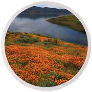Round Beach Towel featuring the photograph Orange Poppy Fields At Diamond Lake In California by Jetson Nguyen