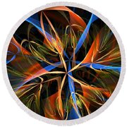 Orange Ribbons Round Beach Towel