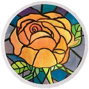 Orange Rose  Round Beach Towel