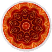 Orange Rose Mandala Round Beach Towel