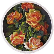 Orange Roses Round Beach Towel by Katia Aho