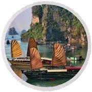 Orange Sails Asian Cruise Vietnam  Round Beach Towel