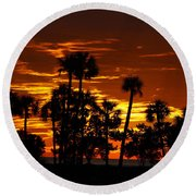 Orange Skies Round Beach Towel