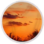 Orange Sky At Night Round Beach Towel