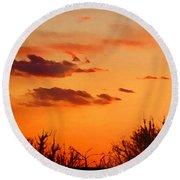Orange Sky At Night Round Beach Towel