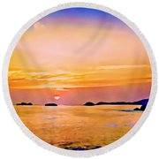 Orange Sky In Ixtapa, Mexico Round Beach Towel