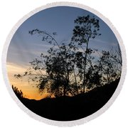 Round Beach Towel featuring the photograph Orange Sky Nature Silhouette by Matt Harang
