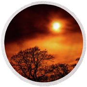 Round Beach Towel featuring the photograph Orange Sky by RKAB Works