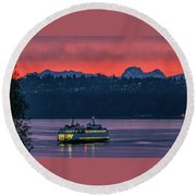 Orange Sky With Purple Sea Round Beach Towel