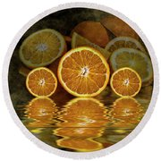Orange Slices Round Beach Towel by Shirley Mangini
