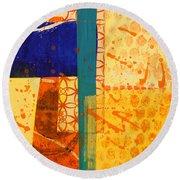 Orange Splatter 1 Round Beach Towel