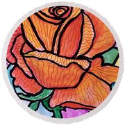 Orange Stained Glass Rose Round Beach Towel