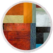 Round Beach Towel featuring the painting Orange Study With Compliments 1.0 by Michelle Calkins