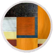Orange Study With Compliments 2.0 Round Beach Towel by Michelle Calkins