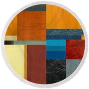 Orange Study With Compliments 3.0 Round Beach Towel by Michelle Calkins