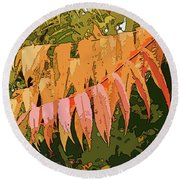 Round Beach Towel featuring the photograph Orange Sumac by Betsy Zimmerli
