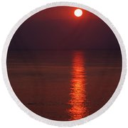 Orange Sunrise Round Beach Towel