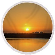 Orange Sunrise Round Beach Towel by Nance Larson