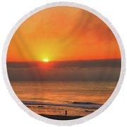 Orange Sunrise On Long Beach Island Round Beach Towel