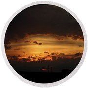 Round Beach Towel featuring the photograph Orange Sunset by Ann E Robson