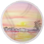 Round Beach Towel featuring the painting Orange Sunset by Elizabeth Lock