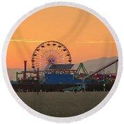 Orange Sunset - Panorama Round Beach Towel