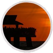Orange Sunset In Naples Round Beach Towel