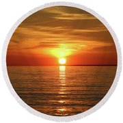 Round Beach Towel featuring the photograph Orange Sunset Lake Superior by Paula Brown