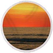 Orange Sunset On The Jersey Shore Round Beach Towel