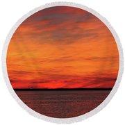 Orange Sunset On The New Jersey Shore Round Beach Towel