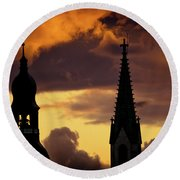 Orange Sunset View In Old Town Riga Artmif Round Beach Towel