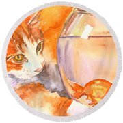 Orange Tabby With Goldfish Round Beach Towel