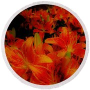 Spicey Tiger Lilies Round Beach Towel