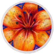 Orange Tiger Lily Drawing Round Beach Towel
