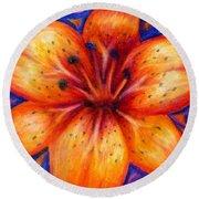Orange Tiger Lily Drawing Round Beach Towel