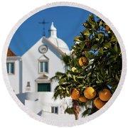 Orange Tree And Church - Castro Marim, Portugal Round Beach Towel