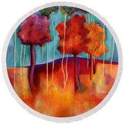 Orange Trees Round Beach Towel by Elizabeth Fontaine-Barr