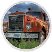 Orange Truck Round Beach Towel