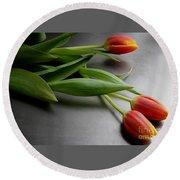 Orange Tulips Round Beach Towel by Mary-Lee Sanders